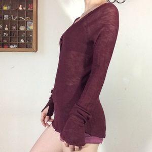 Free People Tops - Intimately Free People Maroon Long Sleeve Sweater
